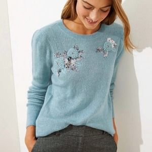 LOFT Blue Sweater with Flowers and Sequins Sz XL